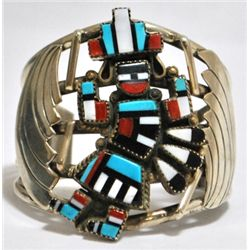 Old Pawn Multi-Stone Rainbow Kachina Sterling Silver Cuff Bracelet - M