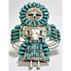 Old Pawn Turquoise Sun Face Kachina Sterling Silver Cuff Bracelet - LMB