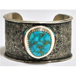 Old Pawn Coral & #8 Number Eight Turquoise Sterling Silver Cuff Bracelet - Francis