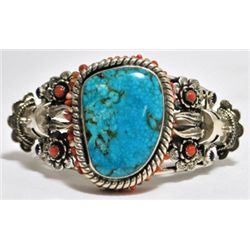 Old Pawn Spider Web Kingman Turquoise Sterling Silver Cuff Bracelet - SH_KEY