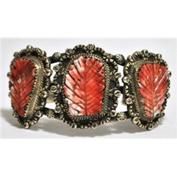 Old Pawn Red Spiny Oyster Sterling Silver Cuff Bracelet - JD