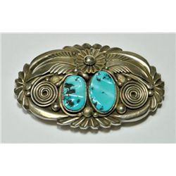 Old Pawn Turquoise Rough 2-Stone Sterling Silver Buckle