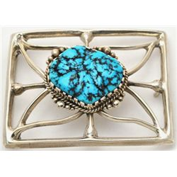 Old Pawn Sleeping Beauty Turquoise Buckle - H.B.