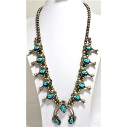 Old Pawn Turquoise Sterling Silver Squash Blossom Necklace - Angela Lee