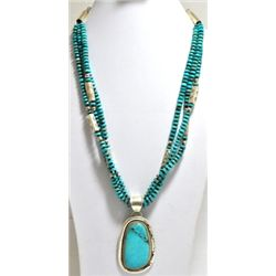 Old Pawn Turquoise Bead & Pendant Sterling Silver Necklace - HAEY?