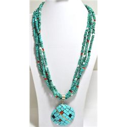 Old Pawn Santo Domingo Multi-Stone Shell Necklace