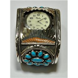 Old Pawn Turquoise 37-Stone Sterling Silver Men's Watch