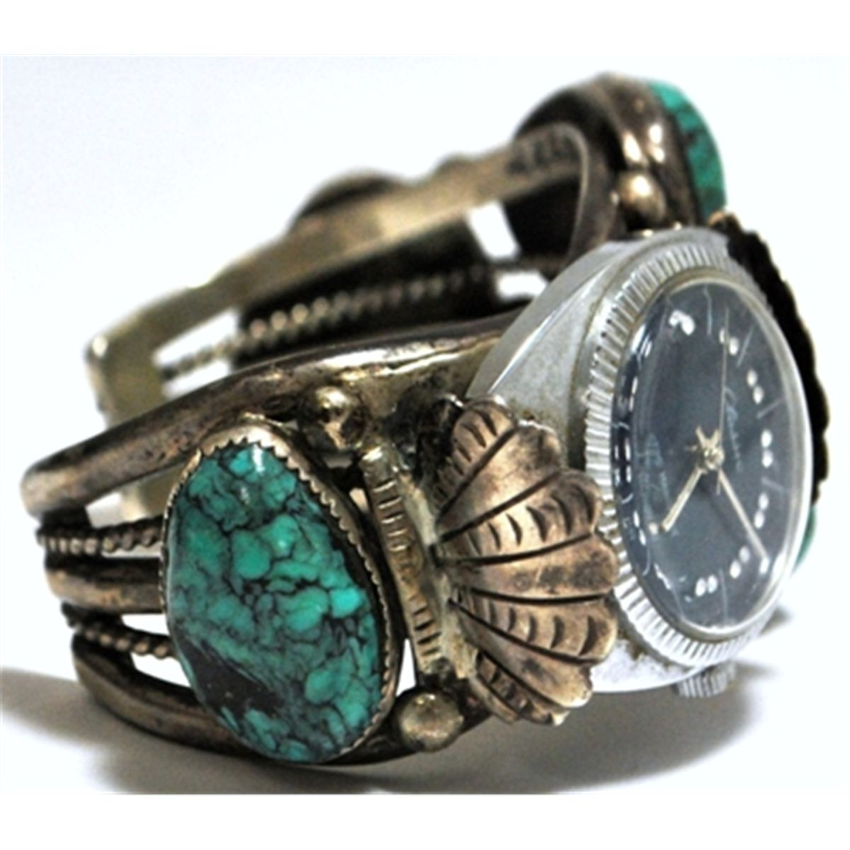 Old Pawn Turquoise Sterling Silver Cuff Bracelet Men's Watch With Classic  Face
