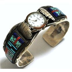 Dead Pawn Multi-Stone Inlay Sterling Silver Cuff Bracelet Men's Watch - VHY