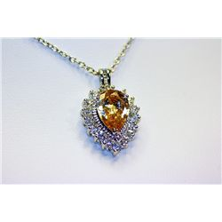 Lady's Beautiful Sterling Citrine & White Sapphire Pendant
