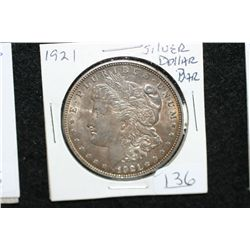 1921 Silver Morgan $1, w/Silver Dollar Bar sticker on rev.