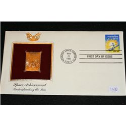 1981 First Day Issue Gold Replica stamp w/stamps, Space Achievement Understanding the Sun