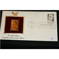 1981 First Day Issue Gold Replica stamp w/stamps, Everett Dirksen Republican Senator from Illinois