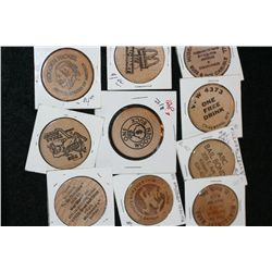 Wooden Nickel, various vendors & dates, lot of 10