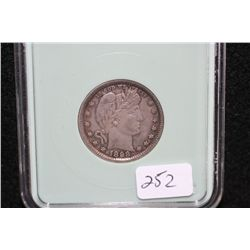 1898 Barber quarter, NTC graded AU50, cleaned