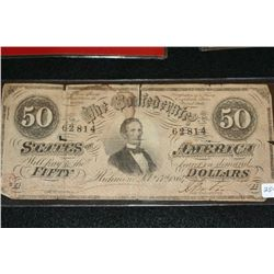 1864 The Confederate $50, #62814