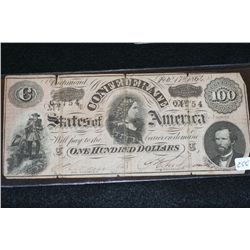 1864 Confederate State of America $100, #64754