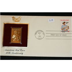 1981 First Day Issue Gold Replica stamp w/stamps, American Red Cross 100th Anniversary