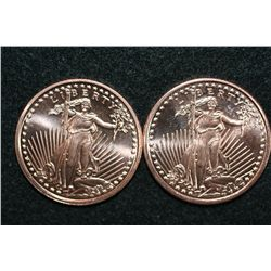 2011 Copper Round, .999 fine 1 oz., lot of 2