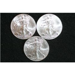 2012 Silver Eagle $1, lot of 3