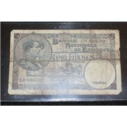 1938 Banque Nationale de Belgique 5 Frank Foreign Bank Note