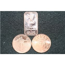 2011 Copper Round, .999 fine 1 oz. (2) & 2011 Copper Ingot, .999 fine 1 oz. (1), lot of 3