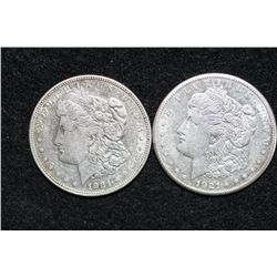 1921-S Silver Morgan $1 & 1921-D Silver Morgan $1, lot of 2