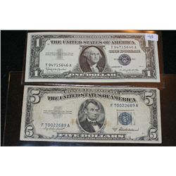 1957-B US Silver Certificate $1, Blue Seal, #T94715646A & 1953-A US Silver Certificate $5, Blue Seal