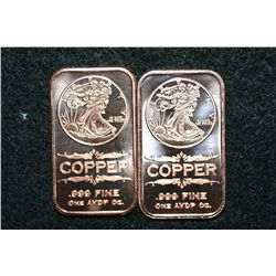 2011 Copper Ingot, .999 fine 1 oz., lot of 2