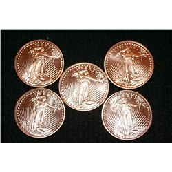 2011 Copper Round, .999 fine 1 oz., lot of 5