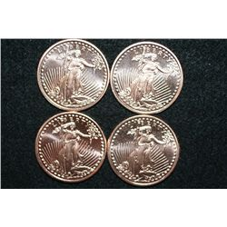 2011 Copper Round, .999 fine 1 oz., lot of 4