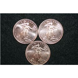 2011 Copper Round, .999 fine 1 oz., lot of 3