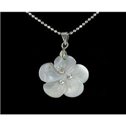 18k WG Plated Mother of Pearl Plumeria Necklace (JEW-1966)