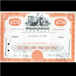 1960s Howard Johnson Stock Certificate Scarce (CUR-06403)