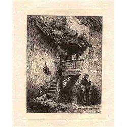 "Jacque ""A Rustic Stair"" Original Etching"