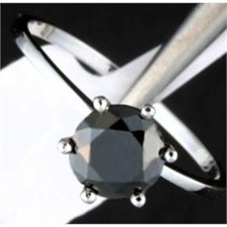 1.50 Ct. Black Diamond Solitaire Ring - 14kw Gold Ring