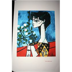 Limited Edition Picasso - Portrait of Jacqueline Roque with Flowers - Collection Domaine Picasso