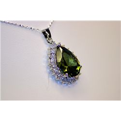 Lady's Fancy PEAR Shaped Tourmaline &amp; White Sapphire Necklace