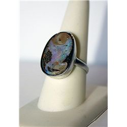 Ladies Boulder Opal Silver Ring