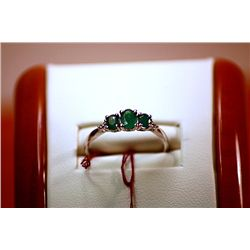 #131 - Fancy Ladys Columbian Emerald and Diamond Ring.