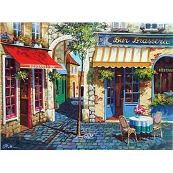 Anatoly Metlan, Café in Provence, Signed SS on Canvas