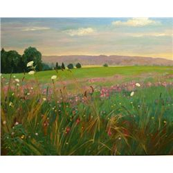 Anne Boysen, Clover Field, Signed Oil on Canvas