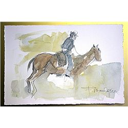 Frederic Remington Original Watercolor on Paper -Soldier