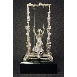 Real Silver Limited Edition Moreau Sculpture - Girl On A Swing