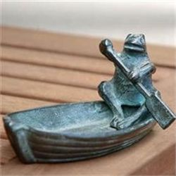 Frog In Rowboat Sculpture