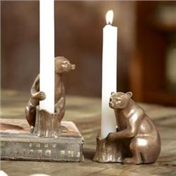 Pair Bear Taper Candle Holders