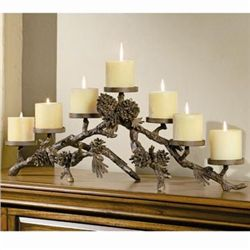 Pinecone Mantlepiece Candle Holder