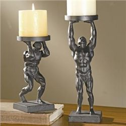 Working Man Pillar Candle Holders