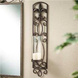 Fleur De Lis Wall Sconce Candle Holder