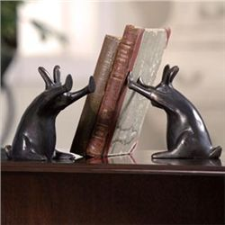 Pushing Rabbits Bookends
